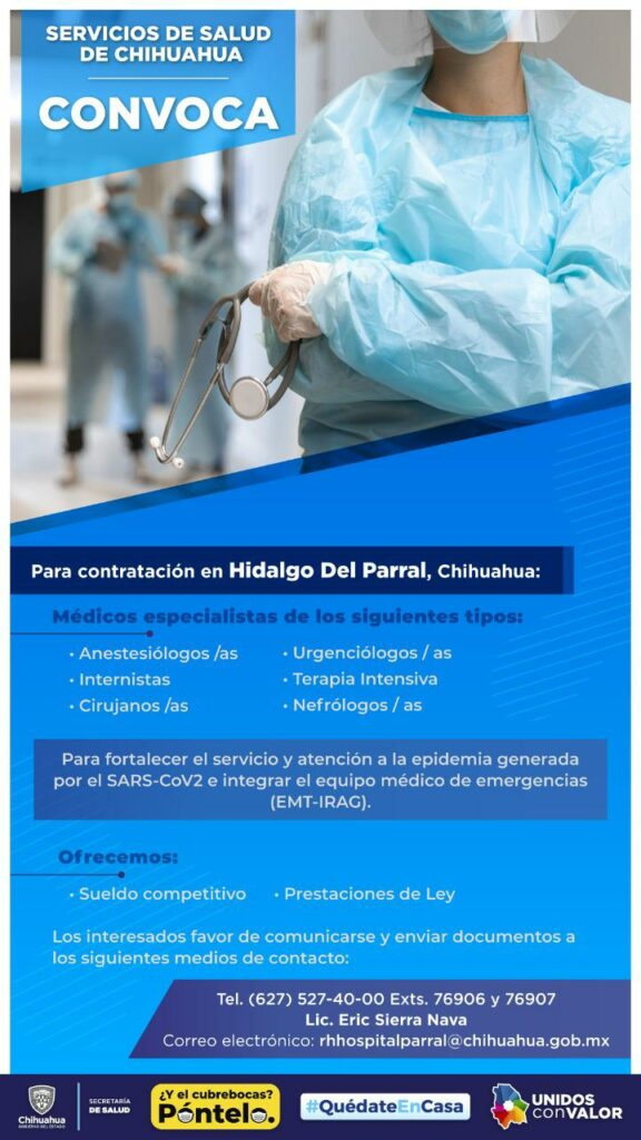 Solicita el hospital general de Parral personal médico