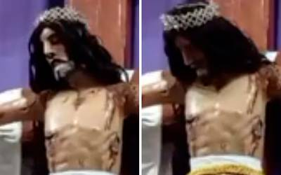 Cristo movió la cabeza en plena misa captado en video